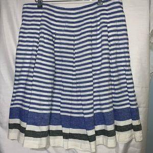 💙Talbots striped linen pleated skirt. Sz14. 💙